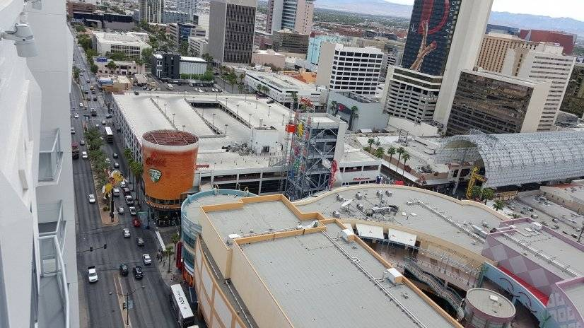 View of Freemont St & Las Vegas Blvd from unit's W balcony