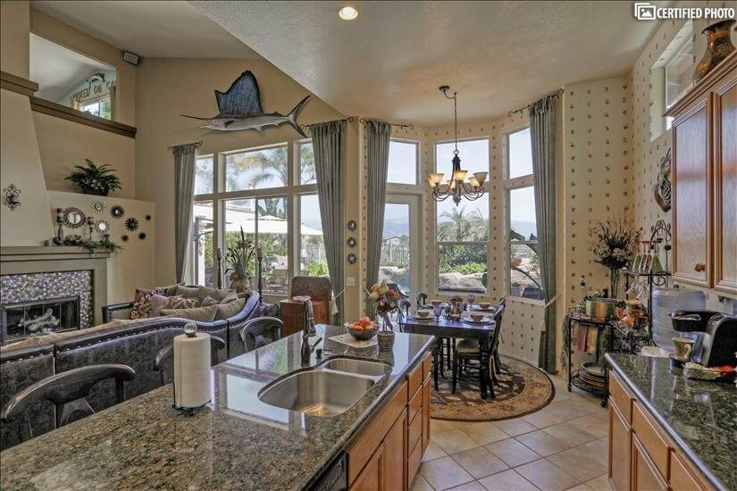Kitchen, family room and informal dining.