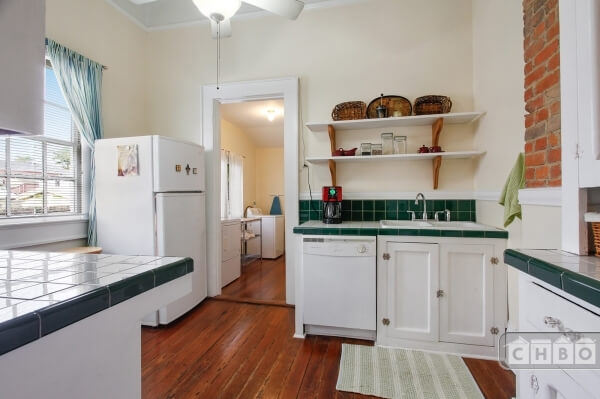 Kitchen with original hardwood floors