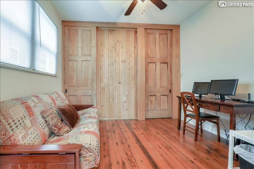 Close beautiful sliding wood doors for privacy.