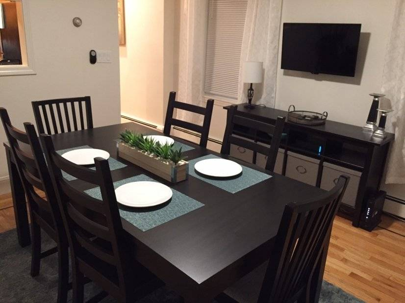 Separate dining area with storage and cable TV