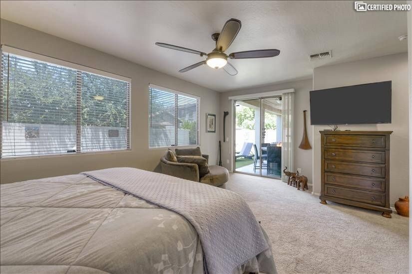 Master suite with with direct access to back yard