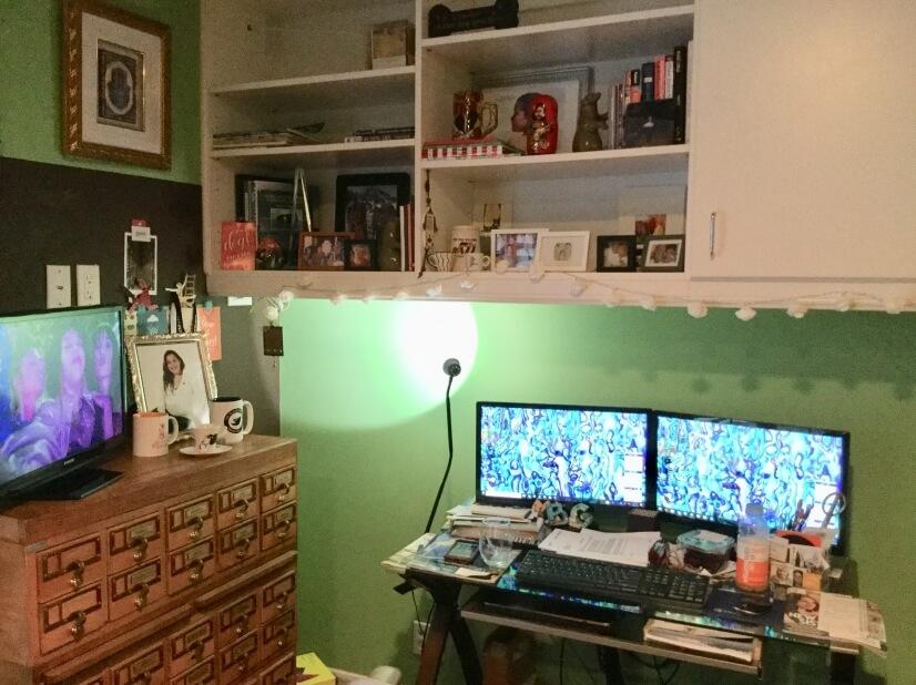 Work area and flat screen TV in Bedroom #2.