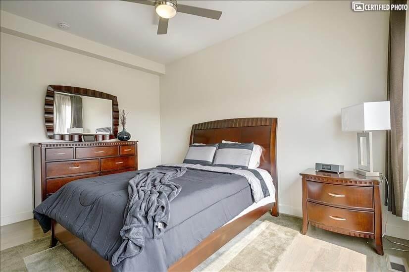 Bedroom 1 w/ Queen Bed & Ceiling Fan