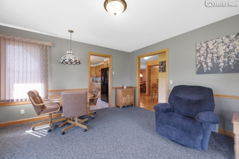 Directly off the Kitchen with patio