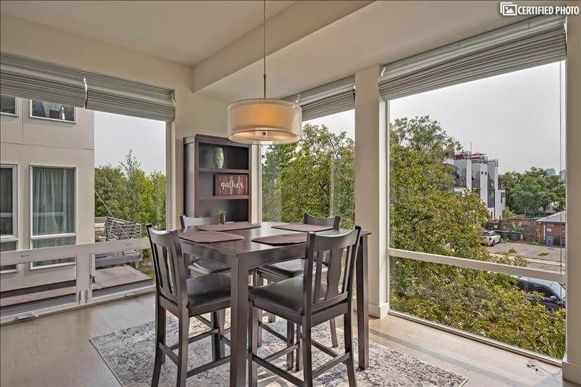 Large windows in dining room