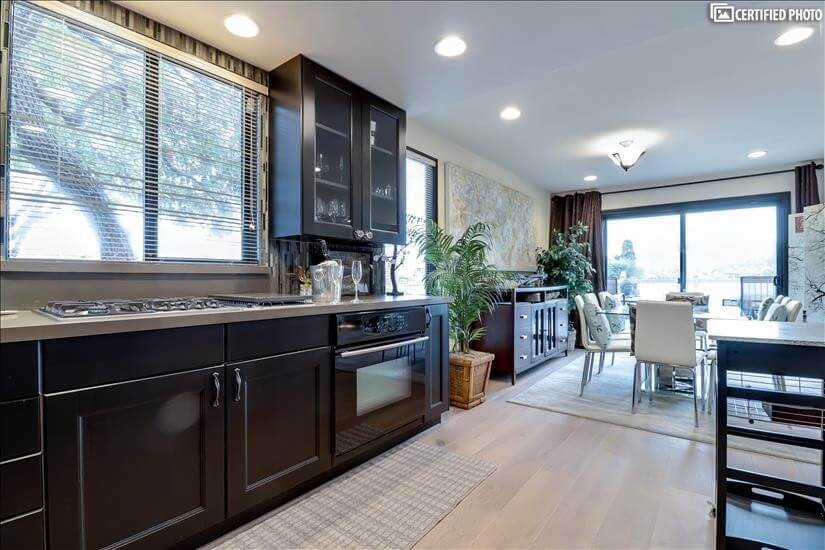 Stylish Kitchen conveniently opens to dining