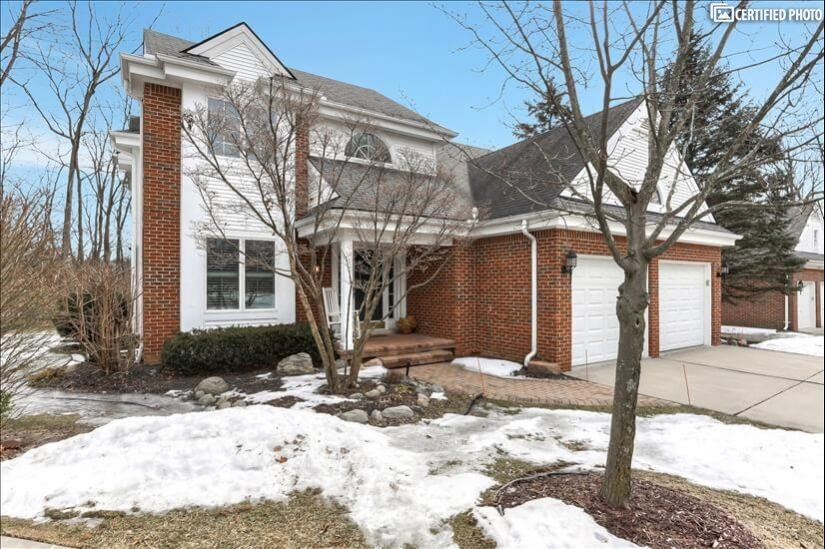 Positioned at end of cul-de-sac. Lovely home on wooded lot.