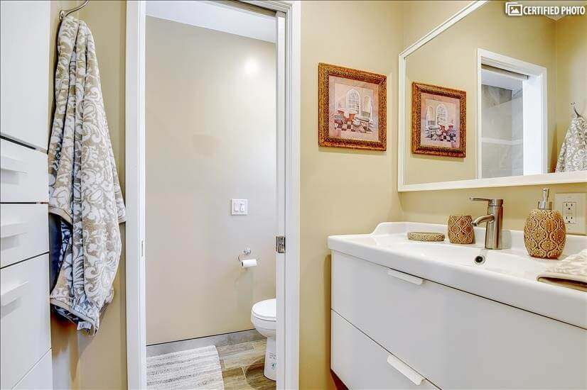 more storage, water closet, shower large for