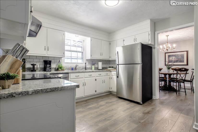 Beautifu renovated kitchen area.