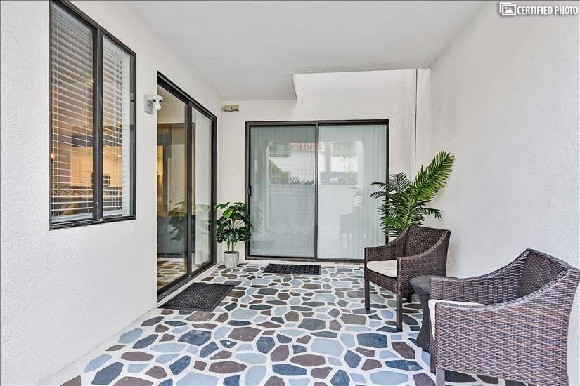 Large patio with seating area to enjoy the San Diego breeze