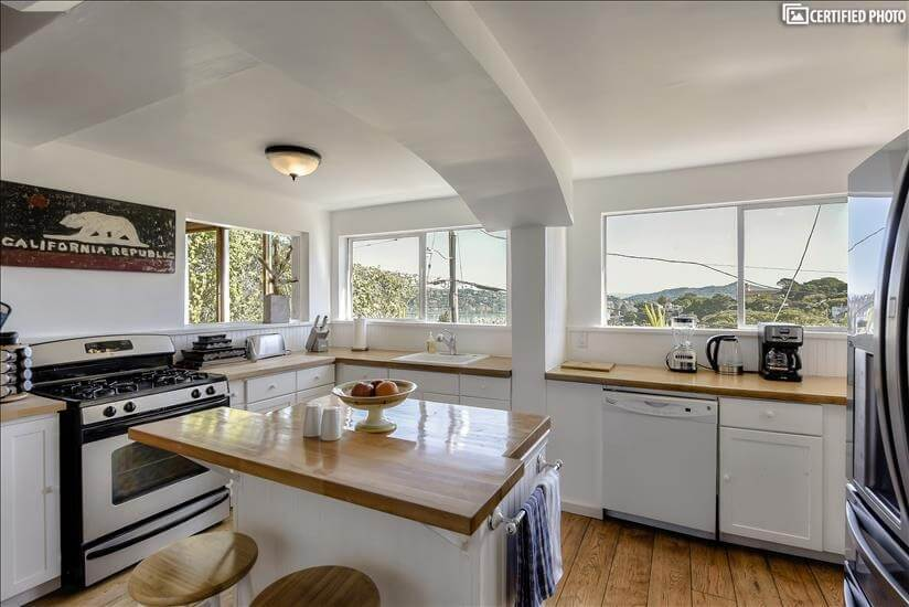 Kitchen with amazing  harbor Views