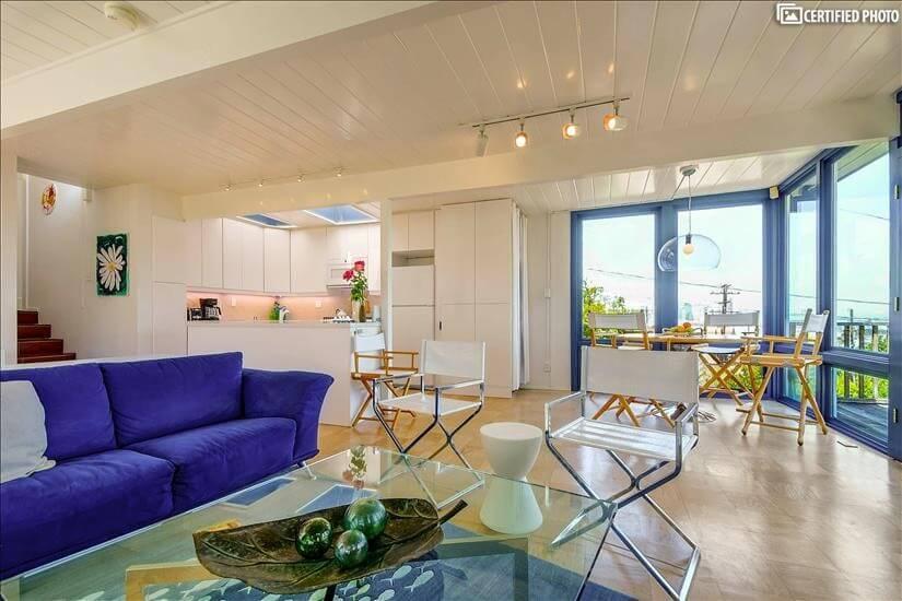 San Francisco furnished rental, living/dining/kitchen areas.