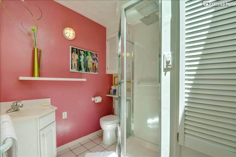 Master bathroom also has a rainfall shower head.
