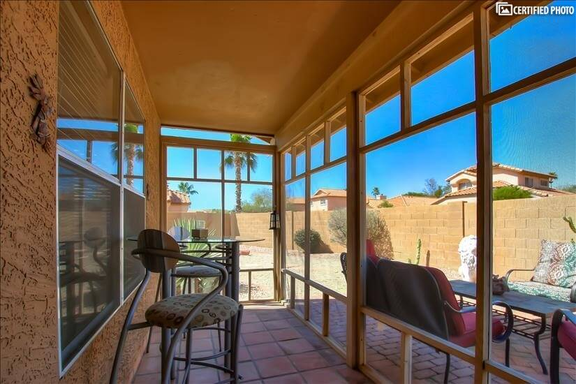 Lovely screened in patio off the living room.