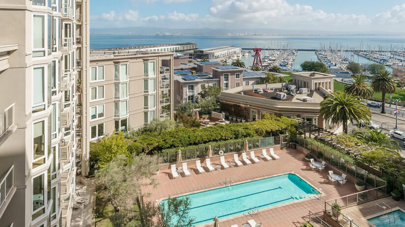 Amenities include pool, gym, business center on the water