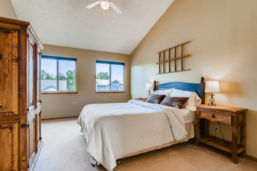 """Master bedroom with Queen bed and 42"""" TV"""