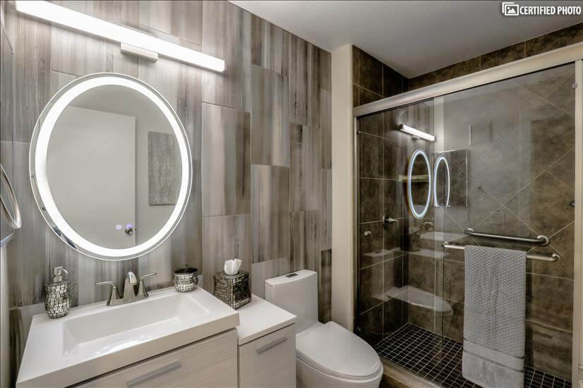 Guest bedroom bathroom w walk-in shower