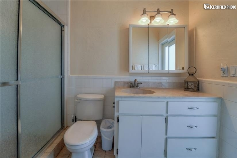 Master bathroom features a walk-in shower.