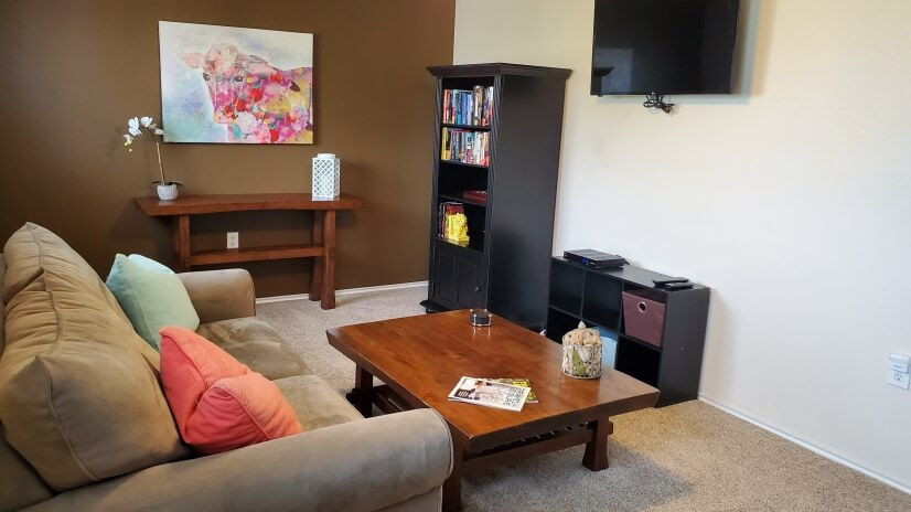 Upstairs loft has pull out couch and flat-screen TV