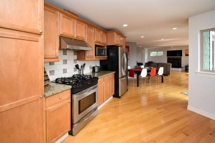 Large kitchen opens up to dining and living room