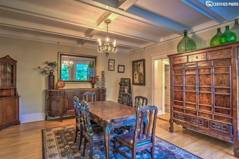 Formal dining room with antique furniture