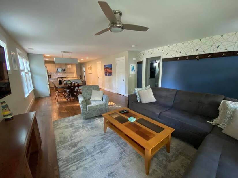 Comfy couch and mounted tv!