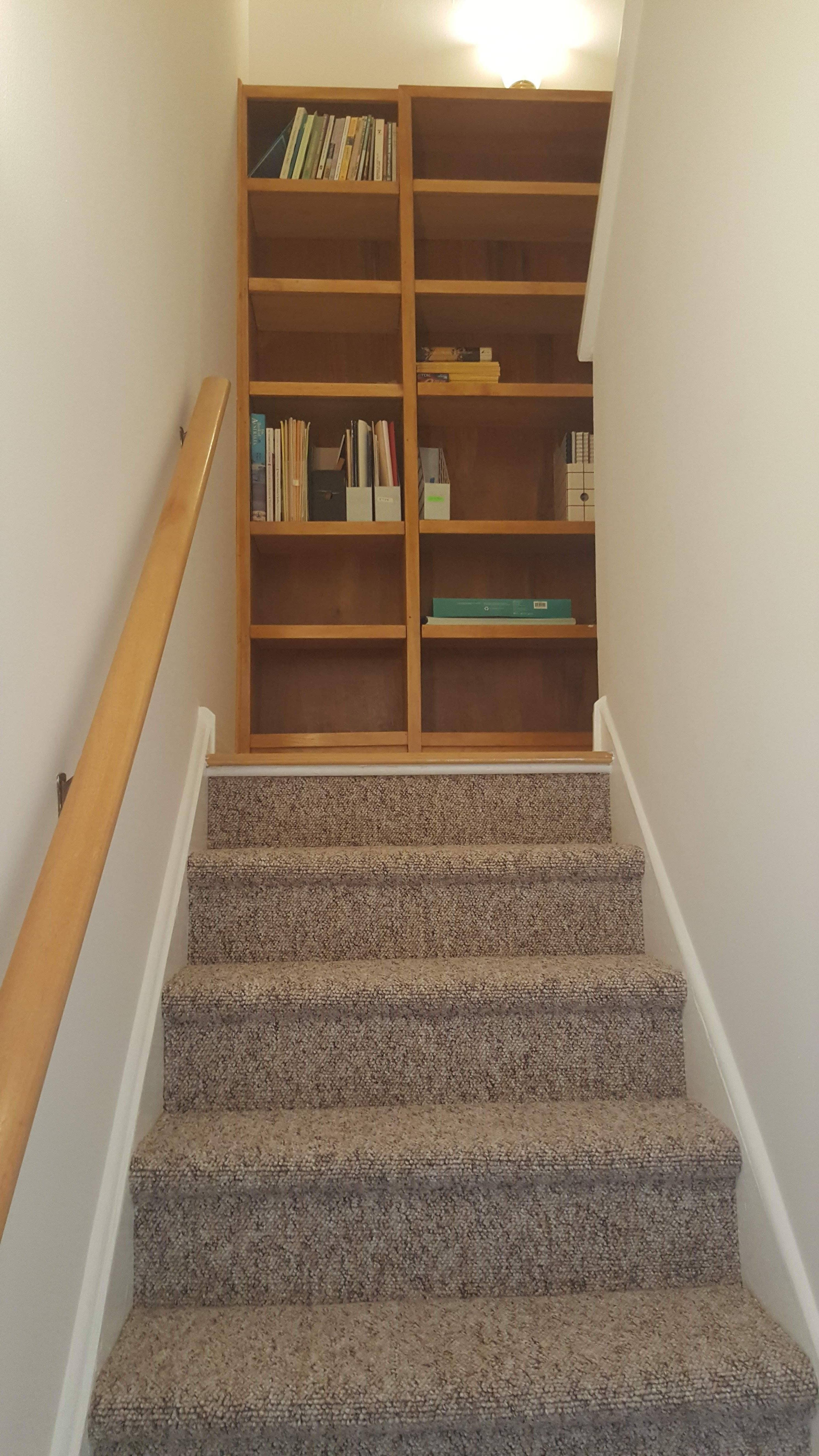 stairs with custom bookshelves
