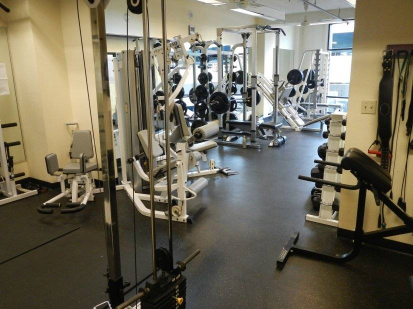 Gym includes freeweights, aerobic equipment, racquetball, sa