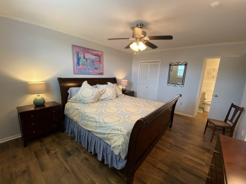 Master bedroom with a king tempurpedic bed