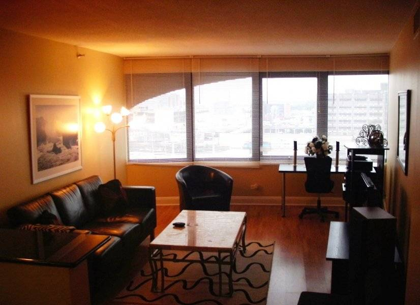 Living room with view of Chicago