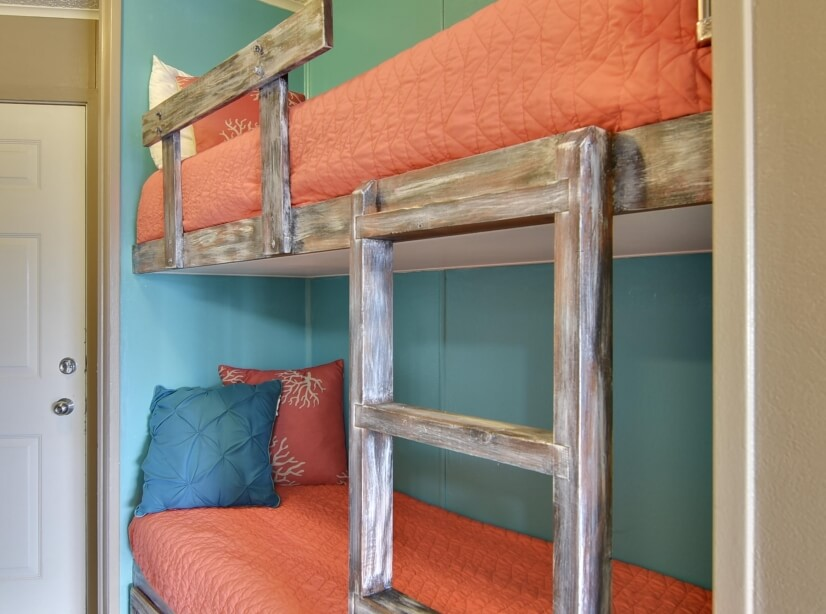 Most units offer bunk bed for kids or smaller adults.