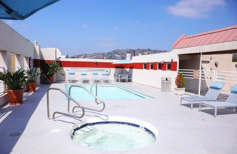 Take a dip in the rooftop pool and enjoy the view.