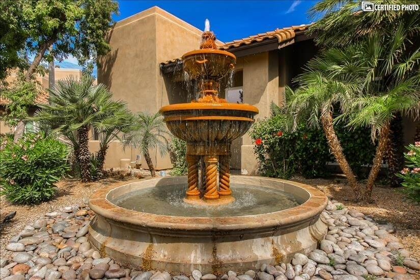 Beautiful fountain adorns clubhouse