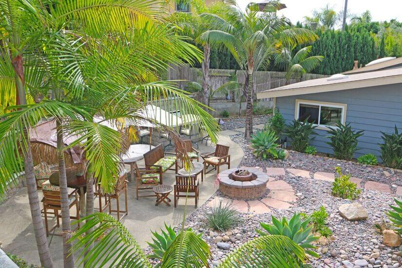 Backyard tables, seating and fire pit