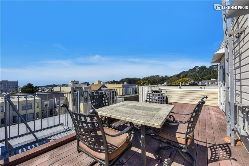 Large deck with view of Golden Gate Park treetops