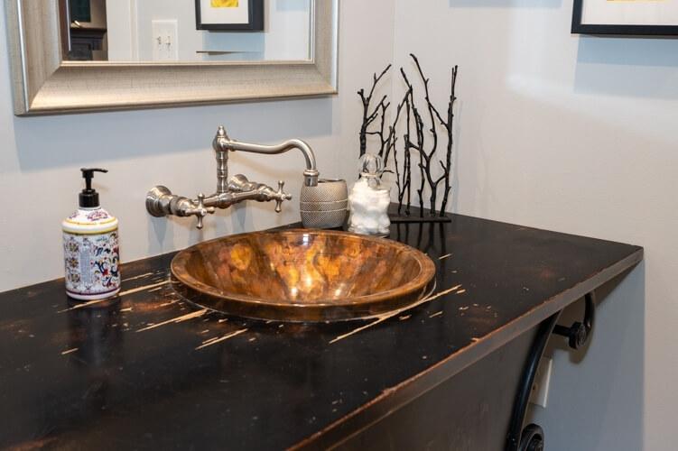 Copper bathroom sink, custom vanity