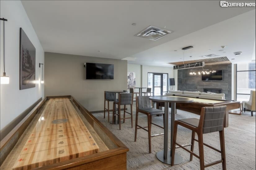 Shuffleboard in the community room