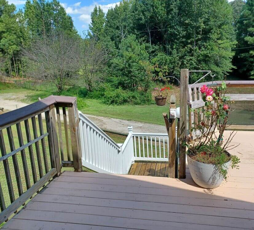 Stairway to Private entrance and Deck