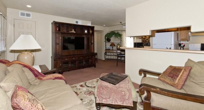 "Living Room w/ 42"" TV in Credenza"