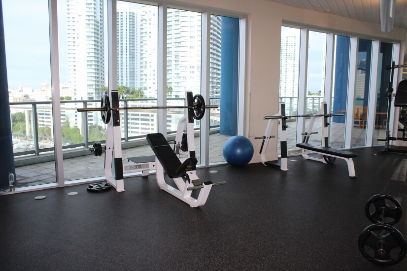 Gym with views of Miami River
