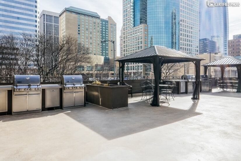 Grill Area with Canopy Covered Tables