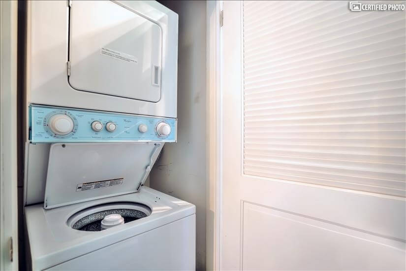 Laundry in hallway of home