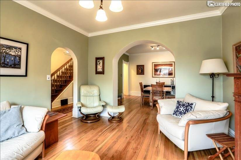 Arched doorways lend a spacious feel.