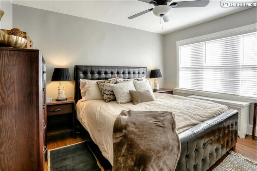 Sunny bedroom with King bed.