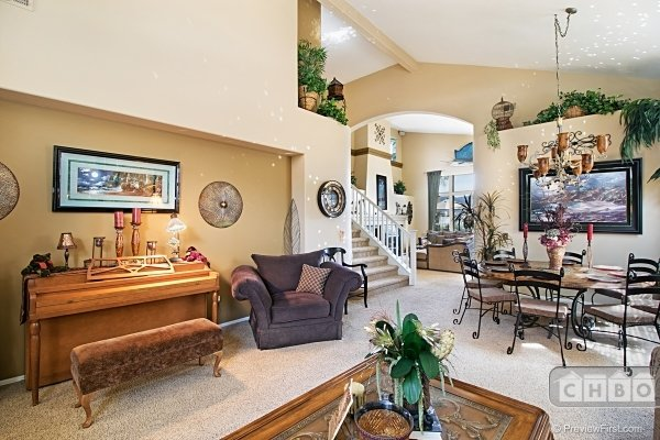 View from living room into family room