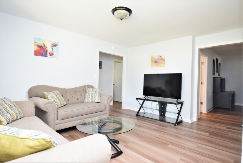 Spacious living room with 55 inch tv