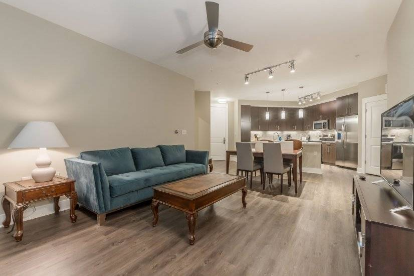 Living Room furnished downtown Atlanta corporate housing