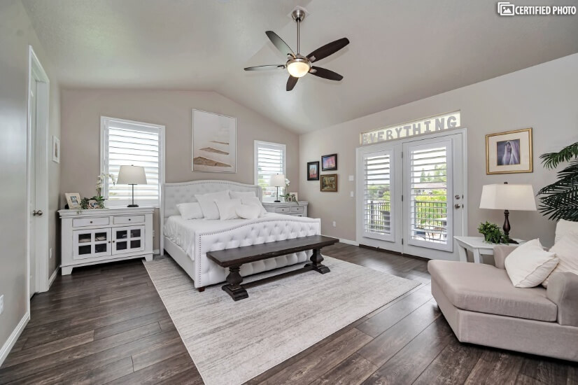 Main Floor Master Bedroom with Private Deck