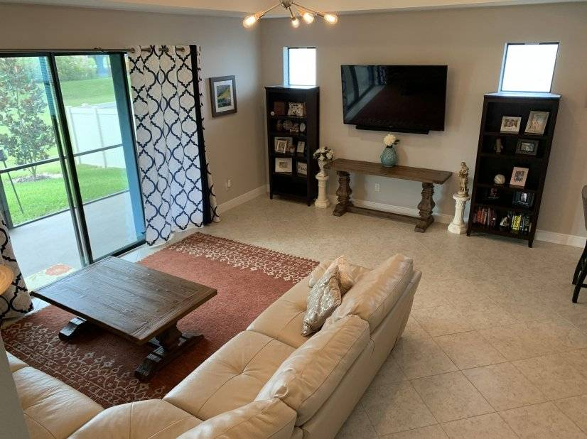 Family room with surround sound system for TV